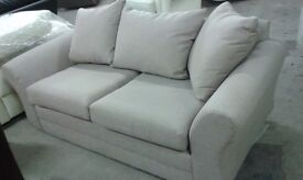 New 2 Seater Cream Beige Fabric cushion back Sofa Settee FAST LOCAL DELIVERY