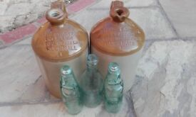 Two Old Stoneware Bottles and 3 Old Glass Bottles of Hucknall / Torkard