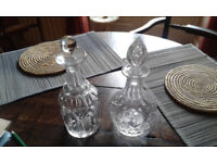 2 cut glass decanters
