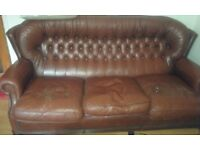 FREE BROWN LEATHER SOFA AVAILABLE FOR COLLECTION FROM WHETSTONE,N20