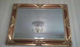 gold effect bevelled glass large mirror