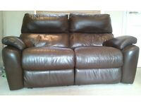 Two seater brown leather recliner sofa