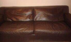 3 seater sofa, settee, brown leather