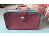 Vintage maroon vinyl small luggage case