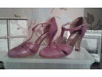 Dark Marbled Pink Leather Ladies Shoes