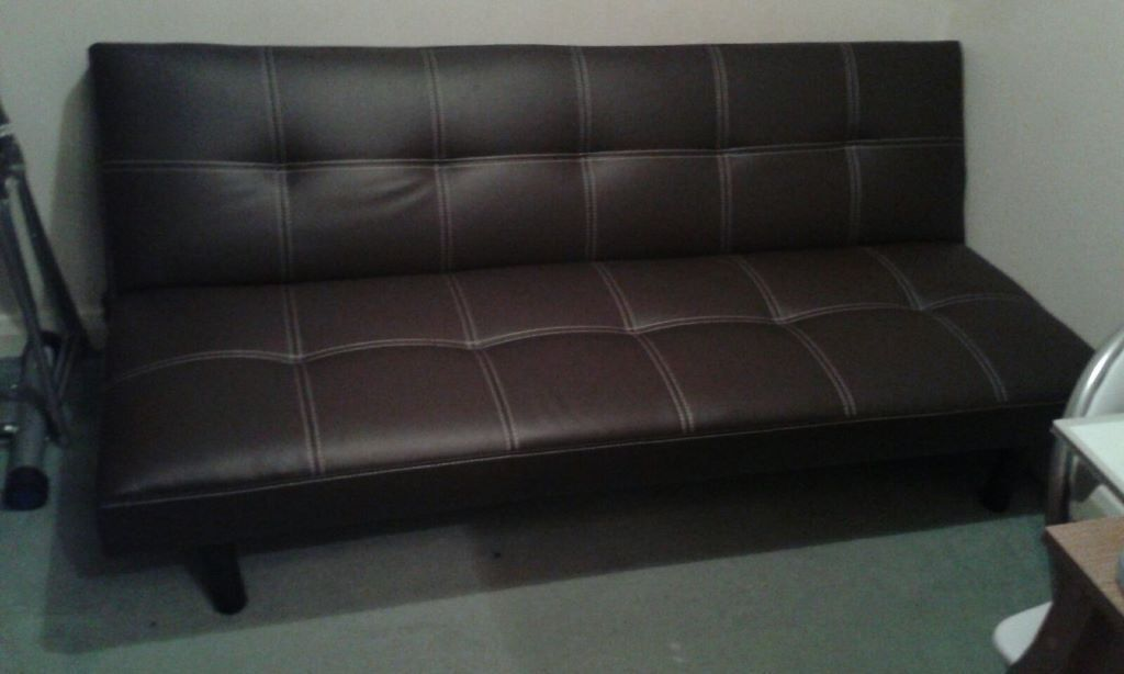 patsy leather effect clic clac sofa bed chocolate built. Black Bedroom Furniture Sets. Home Design Ideas