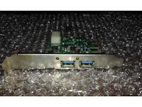 2 Port PCI Express USB 3.0 Controller Card with Molex Power USB adapter - PCI Express x1