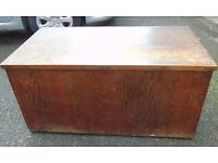 large dark oak edwardian trunk blanket box