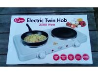 Twin electric counter top hob. Brand new never been used.