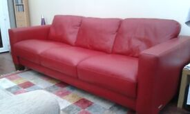 3 seater red leather sofa. Excellent condition.