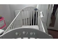 Baby cot with top changing table