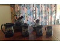 Complete set of blue Staffordshire pottery