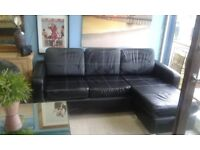 NEW BLK LEATHER CORNER SOFA CAN DELIVER FREE