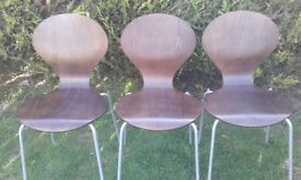 6 stackable Danerka Rondo walnut veneer chairs