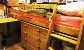 Pine Cabin Bed with Chest of Drawers, Bookshelves, Pull Out Desk & Top Quality Mattress