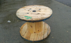 Wooden Reclaimed Industrial Cable Reel/Drum,Table, 100 cm x 66 cm Upcycled/Craft project.