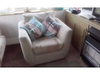2 seater sofa & 2 swivel chairs