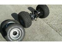 Apache 50cc quad bike wheels, tyres and complete back axle