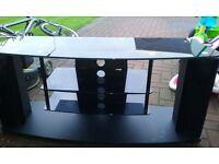 universal black glass tv stand