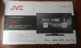 "BRAND NEW JVC LT-32C650 32"" LED HD SMART TV Freeview HD USB Record, Pause & Play HDMI"
