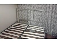 Double Bed with sprung mattress (metal frame)