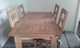 Pine table and 6 chairs good condition