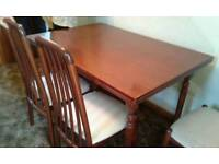 Solid Wood Dining Table & Four Cream Chairs
