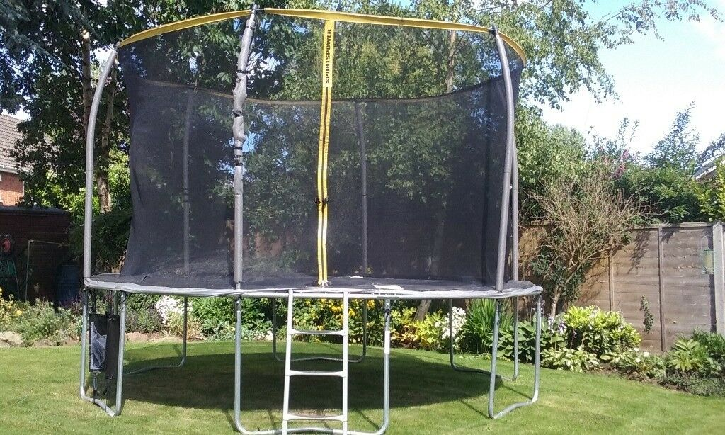 12ft Sportspower Trampoline With Safety Enclosure Net Step Ladder