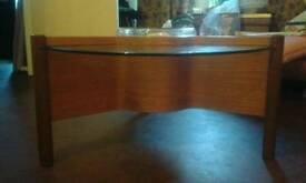 Sweedish vintage glass and teak coffee table