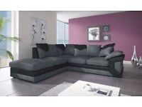 DINO JUMBO CORD BLK/GREY 3+2 SEATER SOFA OR CORNER SOFA WITH FREE FOOTSTOOL | EXPRESS DELIVERY UK
