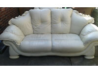 3 piece suite - cream leather - sofa and two armchairs