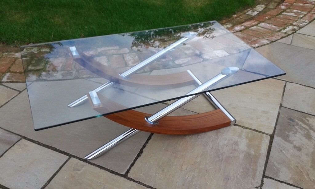 Coffee Table Glass Chrome And Wood Edge Model From