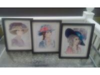 3 embroidered ladies pictures ( Maria, Hannah and Georgina )