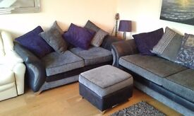 DFS 4 seater and 3 seater sofa with storage footstool.quick sale fixed price £325 for all three