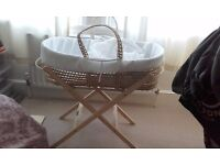 Nearly new Clair de Lune baby moses basket