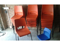 14 adult orange school chairs and 1 childs chair £42 the lot BARGAIN