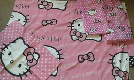 KIDS HELLO KITTY SINGLE DUVET COVER AND CURTAINS