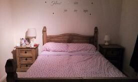 Corona double bed and bedside tables