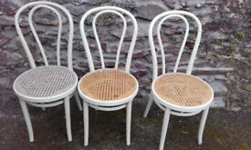 3 Bent Wood Cane Chairs, slight damage see photo