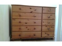 PINE BEDROOM WARDROBE, BED, CHEST OF DRAWERS