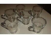 6 x Metal Handle Coffee Mugs