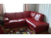Red Leather corner sofa, armchair and storage stool