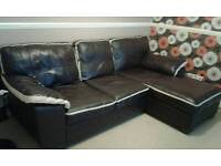 Brown/cream leather sofa