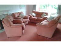 Three and two seater sofa plus two armchairs