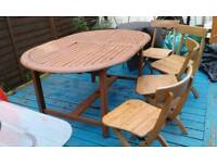 Wooden table and 4 folding chairs