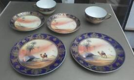 6 PIECE HAND PAINTED CAMEL CHINA