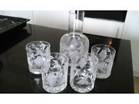 Tutbury Crystal Grapevine Tumblers and Decanter