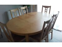 Versatile Birch Dining Table And 8 Chairs