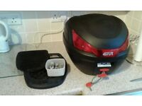 Givi top box and mount plate, (B27NMAL) 27 litre, used for one trip, as new, mono key system