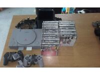 PS1 Console, 23 games & accessories